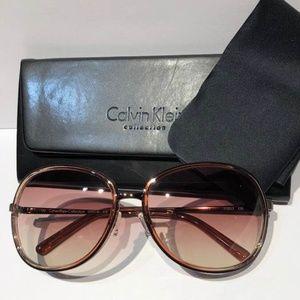 NWT Calvin Klein Round Translucent Pink Sunglasses